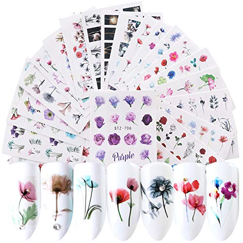 Comdoit Nail Stickers for Women Nail Art Accessories 24 Sheets Nail Art Stickers Water Transfer Decals Nails Supply Flower Leaf Nail Design Manicure Transfer Tips Nail Art DIY Decoration