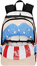 Female Lips Painted with American Flag Casual Daypack Travel Bag College School Backpack for Mens and Women