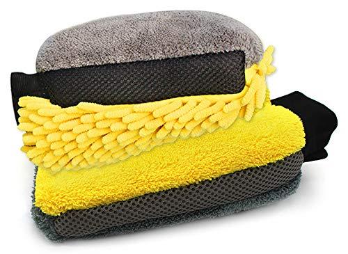 Preisvergleich Produktbild Gresunny 2 stück Auto waschhandschuhe microfaser saugfähiger weicher felgenhandschuh autoreinigung handschuh autowäsche handschuh für Autos motorräder oder Haushalt