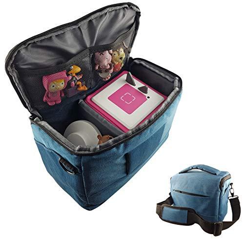 Tasche für Toniebox und Zubehör mit Schultergurt | Platz für bis zu 16 Hörfiguren, Ladestation, Lauscher | BLAU | geeignet für Tigerbox Touch | Transport-Tasche Reisetasche Musik-boxen Musikwürfel