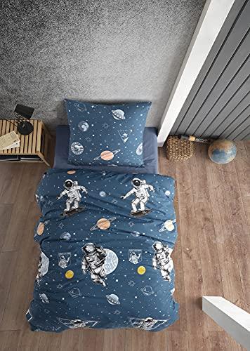 ZIRVEHOME Kinderbeddengoed 135×200 cm. 2-delig set, 100% katoen/renforcé, verborgen ritssluiting, Galaxy