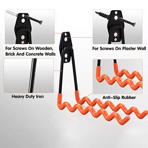 Intpro Steel Garage Storage Utility Double Hooks Organizer Heavy Duty Wall Mount Tool Holder for Organizing Power Tools Ladders Bulk Items 2 Large L +2 Large Wave Hooks 4 Pack