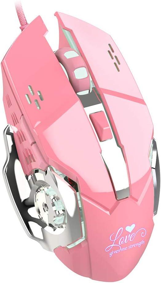 YU-HELLO _Pink Gaming Wired Mouse Elegante 3200dpi Cool Backlight Ratones para oficina/juegos