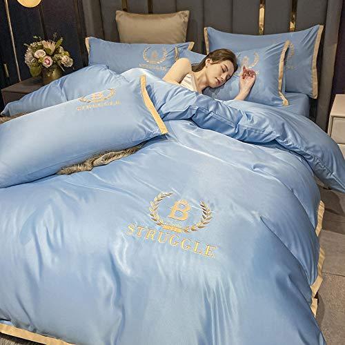funda de edredón 150,Hojas de cama de hielo europeo de cuatro piezas de estilo europeo de cuatro piezas de Sailbrrie Set de seda naked de cuatro piezas regalo del día de la madre-Di_1.8m cama cuatro