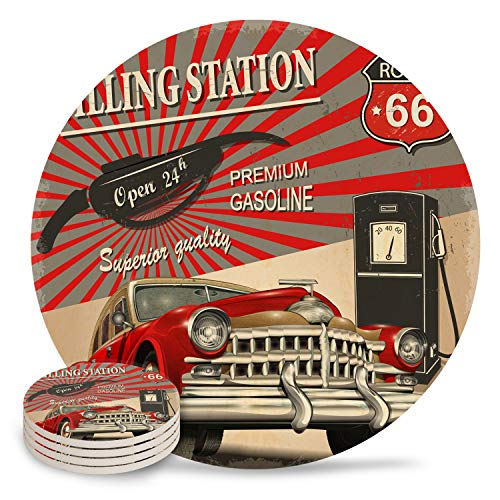 Table Coaster Set with Cork Backing Vintage Car Poster 1950s Style Nostalgic Round Drinks Absorbent Stone Coaster Set for Kinds of Mugs and Cups,Set of 4