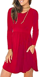 Womens Crew Neck Long Sleeve Casual Flared T-Shirt Mini Dress with Pocket