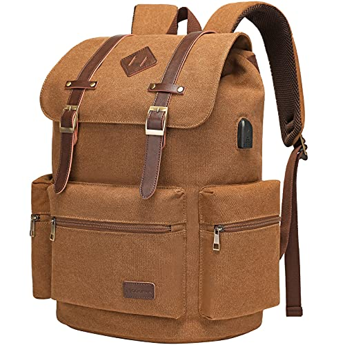 Modoker Canvas Vintage Backpack for Men Women, Travel Laptop Backpack Fits 17/15.6 Inch Computer, High Capacity Backpack Bookbag for School College with USB Charging Port, Brown