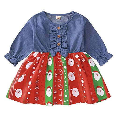 Toddler Baby Girls Christmas Dress Santa Claus Elk Outfit Ruffle Long Sleeve Xmas Casual Princess Dresses 1st Christmas Outfit New Year Clothes Set Jean Dress Denim Blue Santa 12-18Months