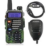 Baofeng UV-5R Plus Qualette Serie Dualband VHF/UHF Handfunkgerät Amateurfunk LCD Display Walkie Talkie 128 Kanäle Camouflage mit Mikrofon und USB Kabel