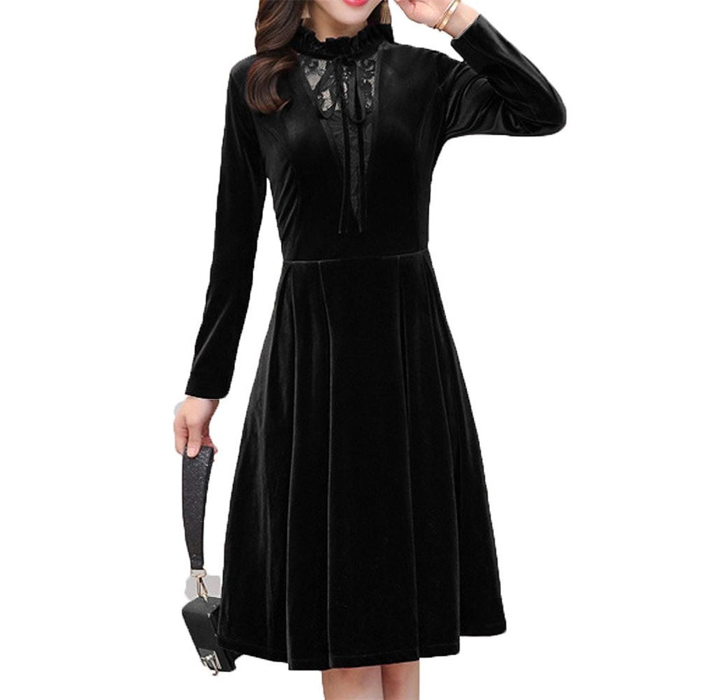 [美しいです] 春 秋 女性 レディース 欧米風 ワンピース 無地 ゆったり デザインセンス 優雅 新着 スカート ファッション 気質 長袖 通勤 ドレス