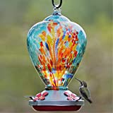 Muse Garden Hummingbird Feeder for Outdoors, Hand Blown Glass, 34 Ounces, Containing Ant Moat, Comet