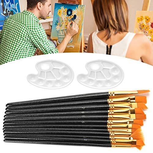 Pinceles para Pintar, 14 Piezas Juego de Pinceles para Pintar, para Aceite acrílico Gouache para Acuarela