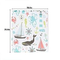 HUA シャワーカーテンバスルームアクセサリーパーティションカーテン防湿厚いポリエステルシャワーカーテン防水性カビフリーメタルフック (Color : Ship Whale, Size : 78.7*70.9in)