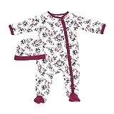 Baby Mädchen Jungen Bodys Dschungel Tier Frühchen – Neugeborenes Baby Strampler Schlafanzug passende Mütze 100% Baumwolle Floral Rose Strampler Polo Set für Baby Junge Gr. 68, Weinblume (Bg128)