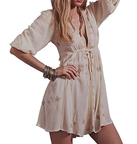 R.Vivimos Womens Summer Floral Print Puff Sleeves Vintage Ruffles Midi Dress (Medium, Beige)