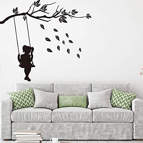 Tianpengyuanshuai Chica de Dibujos Animados Columpio Hoja de árbol calcomanía de Pared habitación de guardería Bosque Etiqueta de la Pared Natural Dormitorio decoración de Vinilo -80x72cm