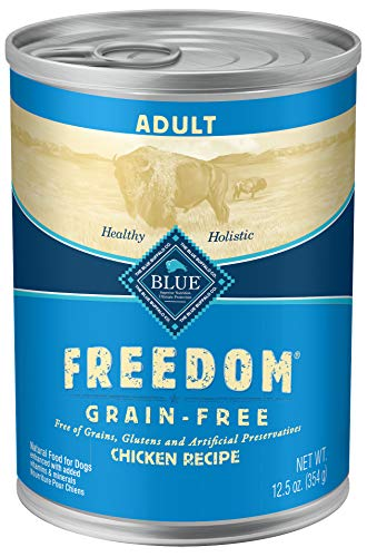Blue Buffalo Freedom Grain Free Natural Adult Wet Dog Food, Chicken 12.5oz cans (Pack of 12)