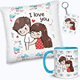 bestylishart Ceramic I Love You Designer with Filler Microfibre Cushion with Mug, Keychain for /Couple/Love/for Girlfriend/Boyfriend/Husband/Wife Valentine Day Gift Set (Multicolour, 12 x 12 inch)
