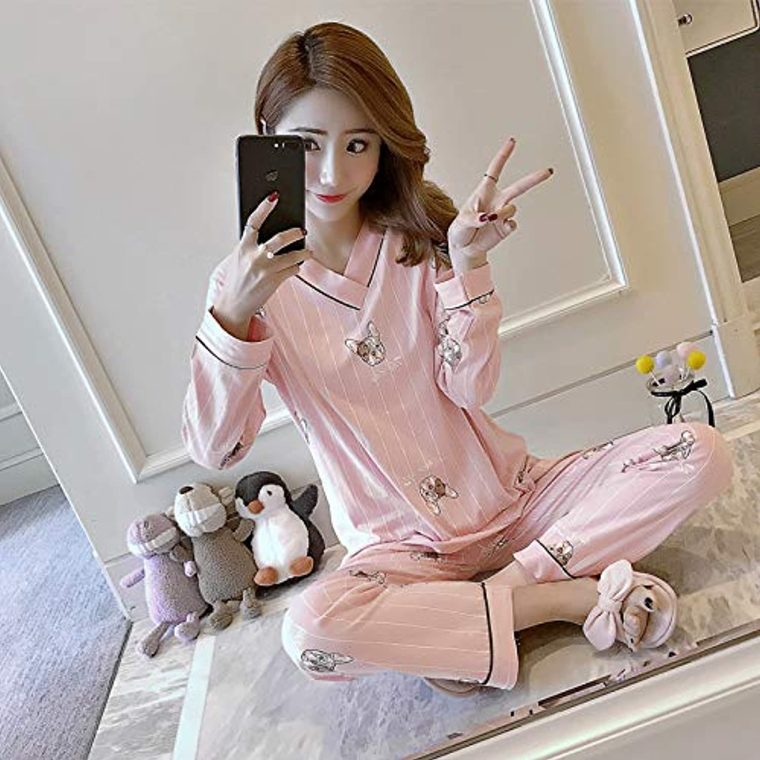 IANXI Home Pajamas Women's Suit LongSleeved TwoPiece Cotton can be Worn Outside The Spring and Autumn Version of The Fresh Student Girl Home Service (color   Pink, Size   XL)