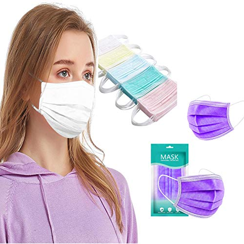 50+50 Stück Schwarz/Rosa/Lila Einmal-Mundschutz Mundbedeckung Erwachsene 3-lagig Atmungsaktiv Mund und Nasenschutz Einweg Baumwolle Bandana Bedeckung Halstuch (100, lila)