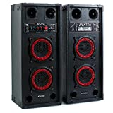 Fenton SPB-26 set set coppia casse attive amplificate attiva/passiva (600 Watt totali, Bluetooth, 2 x subwoofer da 15 CM, USB SD MP3, bass reflex, 2 x MIC IN) Bluetooth