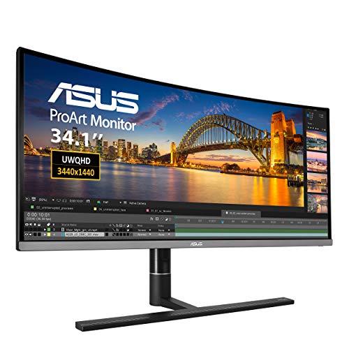 ASUS PA34VC 86,72 cm (34 Zoll) Curved Professional Monitor (UWQHD, HDR10, IPS, 1900R-Krümmung, Thunderbolt 3, HDMI, DisplayPort) schwarz