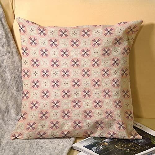 Fundas de almohada de lino de cuarzo rosa de 45 x 45 cm, fundas de almohada para sofá, cama, decoración del hogar