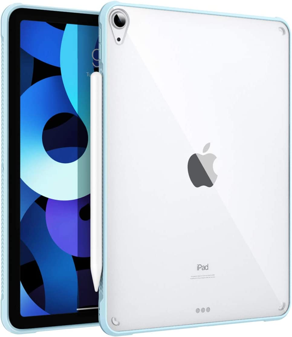 MoKo Case Fit iPad Air 4 - New iPad Air 4th Generation Case 2020 [Support Touch ID and Apple Pencil 2 Charging], Hard PC Clear Back Cover with TPU Air-Pillow Edge Bumper for iPad 10.9