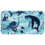 Vockgeng Kids Bath Mats for Tub Ocean Shark Blue Octopus Non-Slip Bathroom Bathtub Mat for Baby Toddler Children Anti-Slip Shower Mats for Floor with Suction Cups 14.7x26.9 in