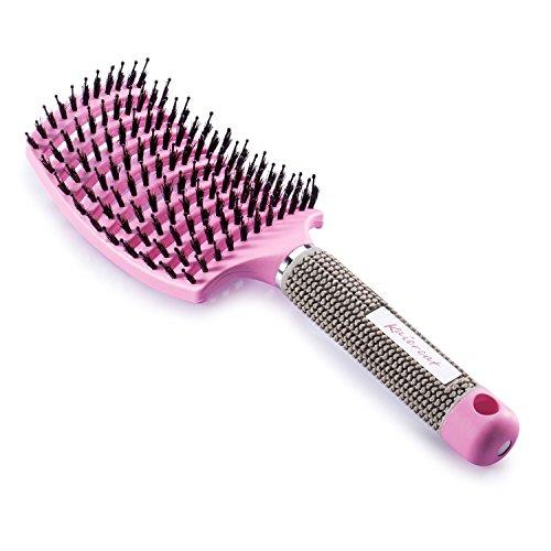 Brosse à poil de sanglier Kaiercat®-Meilleure pour démêlage de cheveux épais et démêlant pour séchage plus rapide - Poil de sanglier 100% naturel pour Distribution d'huile de cheveux (Rose)