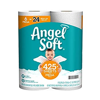 Angel Soft Toilet Paper Mega Rolls 6 Count of 429 2-Ply Sheets Per Roll
