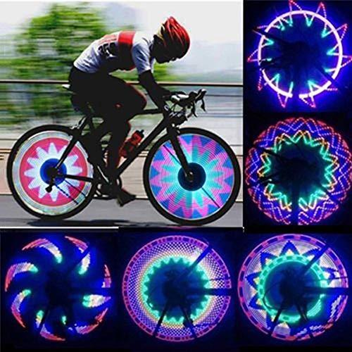 FCUCKDANN Luci per Ruote di BiciclettaImpermeabile Cerchio della Bici Raggi Luci per Raggio Bici Luci della Ruota Principale Guida Notturna Impermeabile 16 LED 30 Diversi Cambi di Modello Luminosa