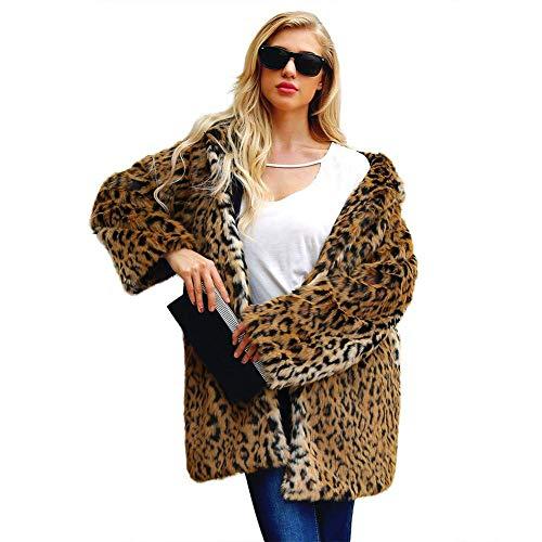Abrigos Capa Estampado Leopardo De Piel Sintética con Capucha Parka Abrigo Cálido Invierno Chaqueta con Sombrero Ropa para Mujer