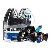LETRONIX Halogen Auto Lampen H11 12V 8500K Kalt Weiß Xenon Optik Gas Ultra White Look Birnen Lampe Abblendlicht Nebelscheinwerfer Fernlicht Kurvenlicht Zulassung E-Prüfzeichen (LED Optik) (H11 55W)
