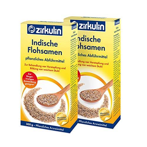 Zirkulin Indische Flohsamen, pflanzliches Abführmittel bei Verdauungsbeschwerden, Arzneimittel auf pflanzlicher Basis gegen Verstopfung, 2 x 300g Packung