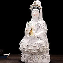 HYBAUDP Statues Buddha Statue of Guanyin, Household Ceramic Buddhist Statue, Religious Supplies, Home Decoration, 18×13.5×...