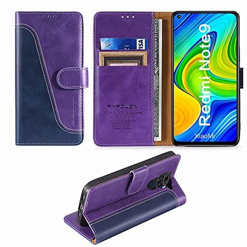 FMPCUON Custodia Xiaomi Redmi Note 9/Redmi 10X 4G,Premium Portafoglio Magnetica Flip Case Custodie Cover a Libro Custodia in Pelle per Xiaomi Redmi Note 9/Redmi 10X 4G,Blu/Porpora