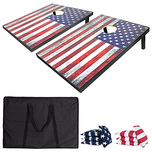 Nattork Premium All-Wood Cornhole Set - Includes 2 Regulation Cornhole Boards,Carrying Case and 8 Cornhole Bags,Fun Outdoor Game for Holiday Weekends,cookouts (3' x 2' American Flag)