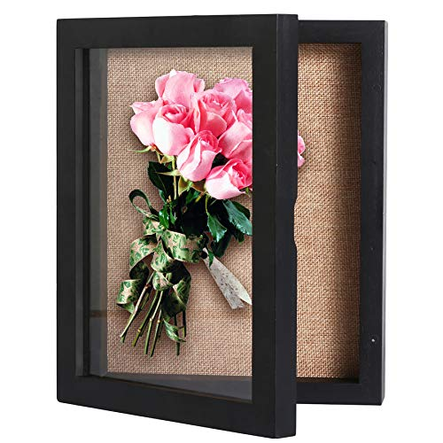 C&AHOME Shadow Boxes, Shadow Box Frame Display 8' x 10', Wood Wall Display Case with Glass Frame, Ideal for Keepsakes Case Collectibles, Wedding Bouquet, Memorabilia, Photos, Medals, Antiques Black