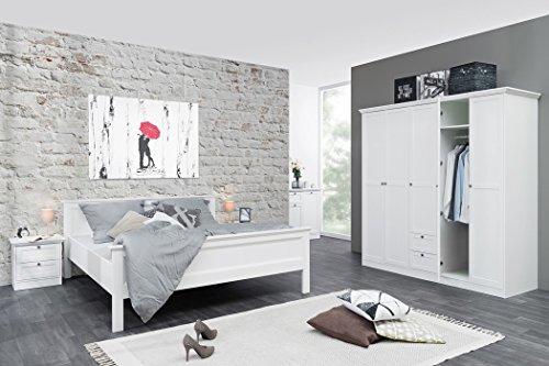 expendio Jugendzimmer Landström 175 weiß 3-teilig Bett 140x200 Kleiderschrank Nachttisch Schlafzimmer Gästezimmer Landhausmöbel