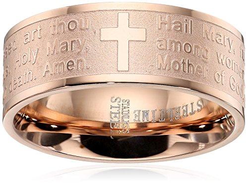 Steeltime 18k Rose Gold Plated Hail Mary Prayer Ring, Size 8