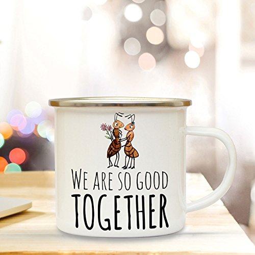 ilka parey wandtattoo-welt Emaille Tasse Becher mit Ameisen Pärchen & Spruch Kaffeebecher Camping Becher mit Motto we Are so Good Together eb50