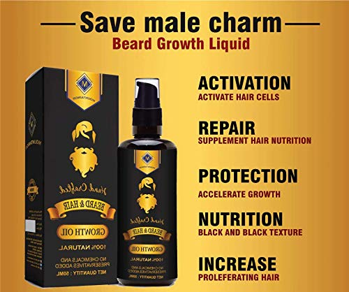 Mountainor Beard, mustache and hair growth oil premium, 50ml for men, for non-hairy, patchy skin for all skin type with natural ingredients 100% safe.