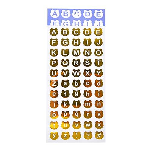 yanni 30 bronzierende Scrapbook-Dekoaufkleber mit Buchstaben, Zahlen, DIY, Tagebuch, Album, Handbuch, Dekoration