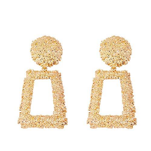 Frauen Maxi Drop Ohrringe große geometrische Anhänger Ohrringe Statement Schmuck weibliche Bijoux 1 Paar - Gold Hochzeit