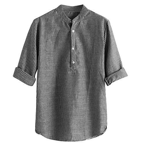 Sylar Camisas De Hombre Manga Larga Camisas De Rayas Tallas Grandes para Hombre Camisa Hombre Cuello Mao Camisa Casual con Botones Camiseta para Hombre Tops para Hombre Blusa para Hombre