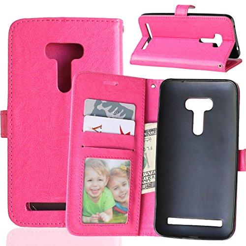 Fatcatparadise Kompatibel mit Asus ZenFone Selfie ZD551KL Hülle + Bildschirmschutz, Flip Wallet Hülle mit Kartenhalter & Magnetverschluss Halterung PU Leder Hülle handyhülle (Rosenrot)