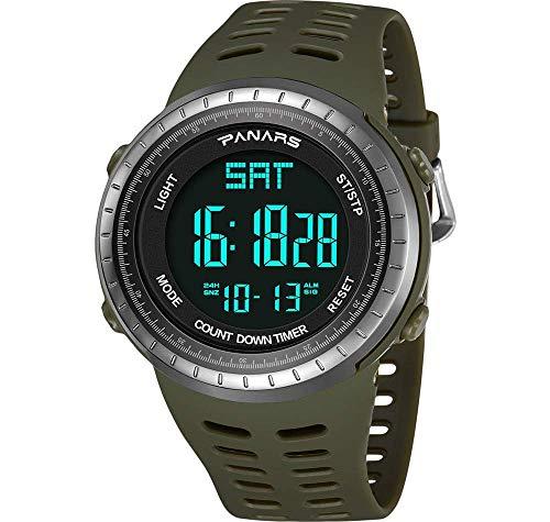 MNBVC Reloj Deportivo Digital para Hombre, Pantalla LED, Relojes Militares de Cara Grande con 50 m, Resistente al Agua, Multifuncional, de Moda, cronómetro, Alarma, cronómetro,