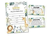 25 Safari Jungle Baby Shower Invitations (LARGE SIZE 5X7 INCHES), Diaper Raffle Tickets, Baby Shower Book Request Cards with Envelopes Greenery Jungle Animal Invites for Boy Baby Showers