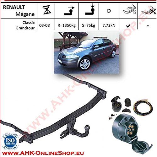 ATTELAGE avec faisceau 7 broches | Renault Megane II de 2003 à 2010 Berline / crochet «col de cygne» démontable avec outils